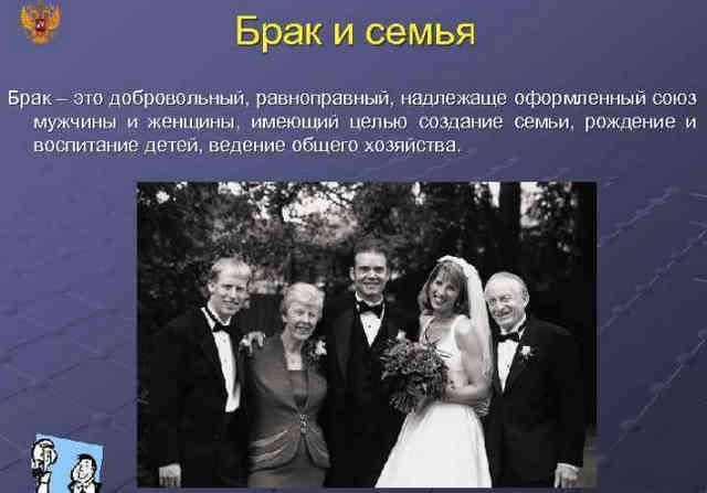 Понятие семьи и брака